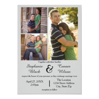 3 Foto-Grau - Hochzeits-Einladung 12,7 X 17,8 Cm Einladungskarte