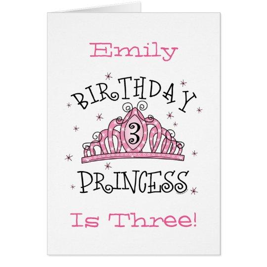 3. Geburtstag Karte Tiara-Prinzessin-- besonders
