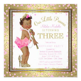 3. Geburtstag Party ethnischer Prinzessin- Quadratische 13,3 Cm Einladungskarte