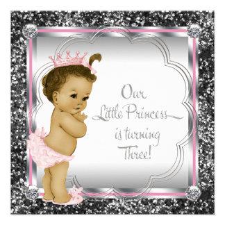 3 Geburtstag Party rosa und schwarzer Prinzessin- Individuelle Ankündigungen