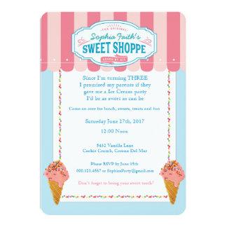 3. Geburtstags-Eiscreme-Party Einladungen süß