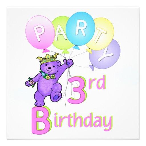 3. Geburtstags-Party-Prinzessin Bear Balloons Personalisierte Einladungskarte