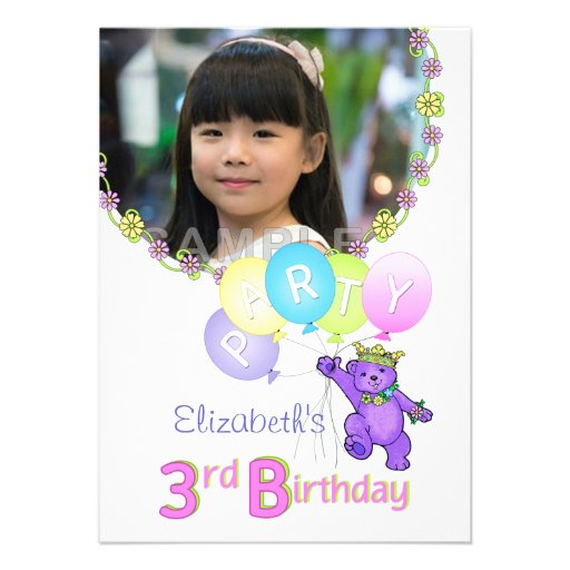 3. Geburtstags-Party-Prinzessin Bear Custom Foto Ankündigung