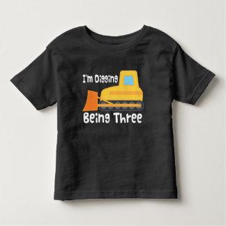 3. Geburtstags-Planierraupen-Bau-LKW-Kleinkind Kleinkind T-shirt