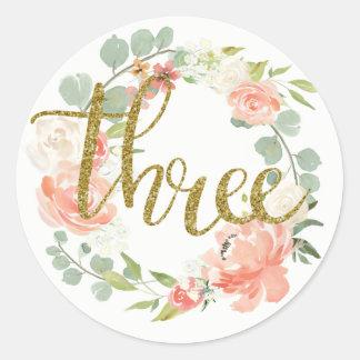 3. Geburtstags-rosa GoldblumenKranz-Aufkleber Runder Aufkleber