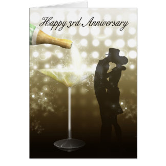 3. Jahrestag - Champagne Grußkarte
