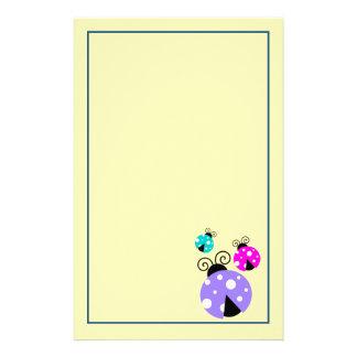 3 Marienkäfer in lila rosa und im Blau Briefpapier