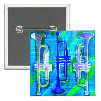 3 Trompeten abstrakt Quadratischer Button 5,1 Cm