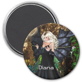 3 Zoll-runder Magnet; Feenhafte Sammlung: Diana Runder Magnet 7,6 Cm