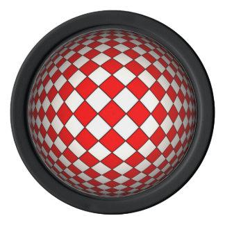 3D rote und weiße optische Täuschung Poker Chip Set