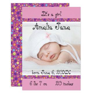 3x5 faire-part nouveau-né pourpre/rose de bébé