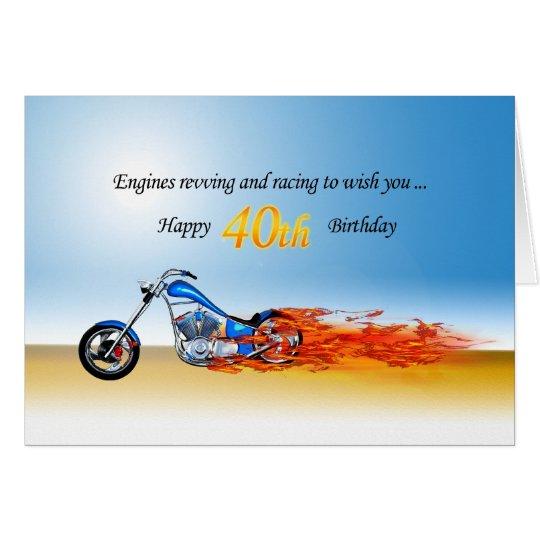40. Geburtstag mit einem lodernden Motorrad Grußkarte