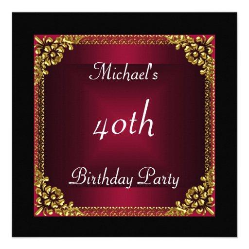 40 geburtstag party schwarz roter kunst deko quadratische. Black Bedroom Furniture Sets. Home Design Ideas