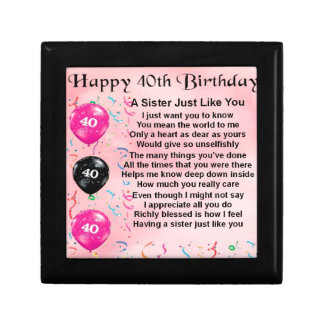 40. Geburtstag - Schwester-Gedicht Geschenkbox