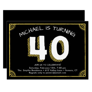 40. Geburtstags-Einladung, gelb Karte