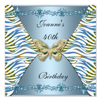 40. Geburtstags-eleganter blauer Quadratische 13,3 Cm Einladungskarte