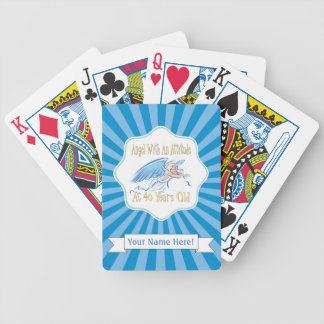 40. Geburtstags-Engel mit einer Haltung Bicycle Spielkarten