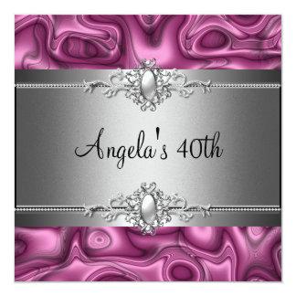 40. Geburtstags-Party-Rosa-Silber abstrakt Quadratische 13,3 Cm Einladungskarte