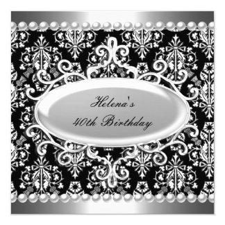 40. Geburtstags-Party-Schwarz-weiße Damast-Perle Quadratische 13,3 Cm Einladungskarte