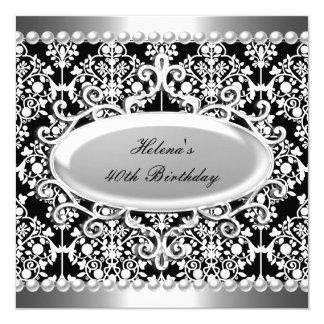 40. Geburtstags-Party-Schwarz-weißer Damast mit Quadratische 13,3 Cm Einladungskarte