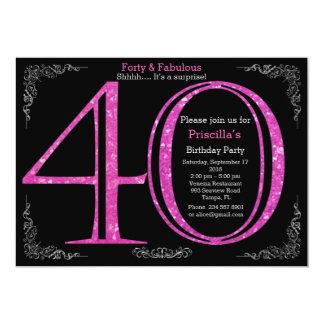 40., Geburtstags-Party, vierzig, Gatsby, schwarzes Karte