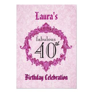 40. Geburtstags-Party-Vintager rosa Rahmen S313 12,7 X 17,8 Cm Einladungskarte