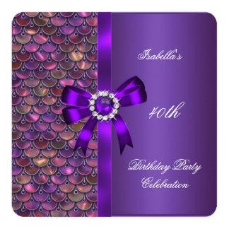 40. Geburtstags-Partysequins-Rosa-lila Diamant Karte