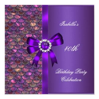 40. Geburtstags-Partysequins-Rosa-lila Diamant Quadratische 13,3 Cm Einladungskarte