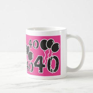 40. Geburtstags-themed ROSA SCHWARZE Tasse