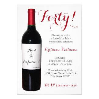 40. Geburtstags-Wein-Flaschen-Einladungen 11,4 X 15,9 Cm Einladungskarte