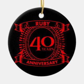 40. Hochzeitsjahrestags-Rubin-Wappen Keramik Ornament