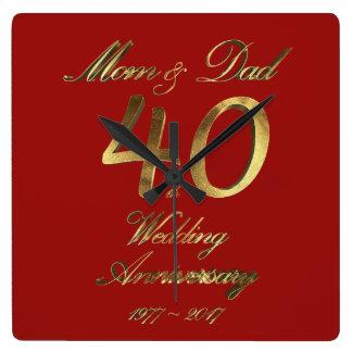 40. Hochzeitstag-karminrote Hochzeits-Eltern Quadratische Wanduhr