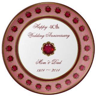 40. Hochzeitstag-Porzellan-Platte Teller Aus Porzellan