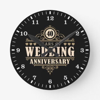 40. Hochzeitstag Wanduhr