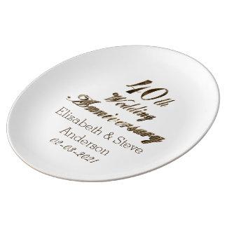 40. Karminrote Hochzeitstag-Typografie elegant Teller Aus Porzellan