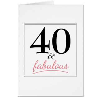 40 u. fabelhafter Geburtstags-rosa u. schwarze Grußkarte