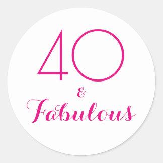 40 und fabelhafte | Typografie-40. Geburtstag Runder Aufkleber