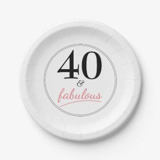 40 und fabelhaftes Geburtstags-Party-Papierplatte Pappteller