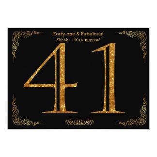 41. Geburtstags-Party, Gatsby styl, schwarzer 12,7 X 17,8 Cm Einladungskarte