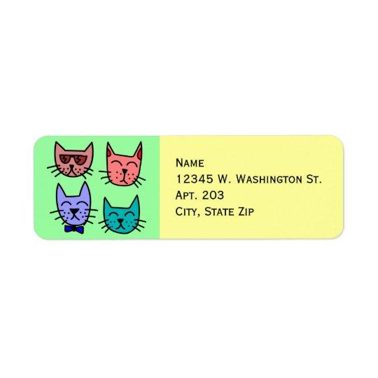 4 bunte lustige niedliche Cartoon-Katzen-Gesichter Kleiner Adressaufkleber