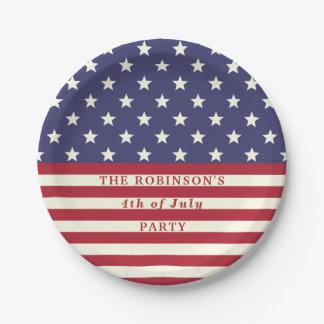 4. der Juli-Flaggen-patriotischen Sterne Stripes | Pappteller