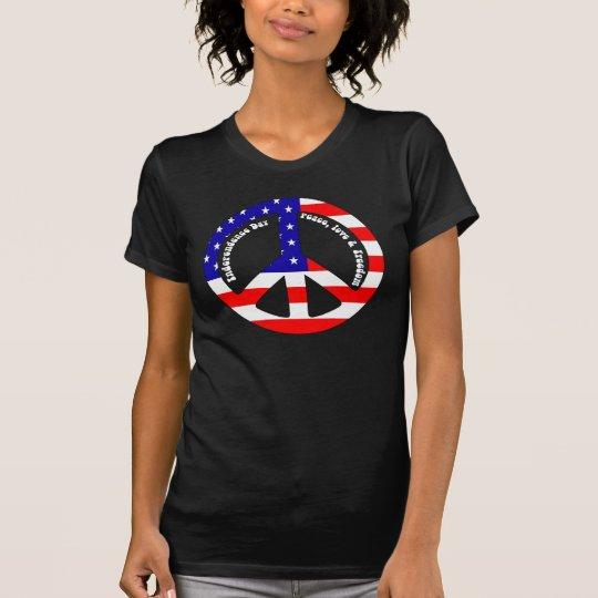 4. des Juli-Flagge-Friedenszeichen-Damen-T-Shirts T-Shirt
