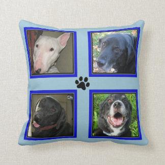 4 Foto Collage-Blaue Rahmen-Blaue besonders Zierkissen