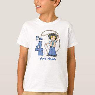 4. Geburtstag Cowboy-Ropers personalisiert T-Shirt