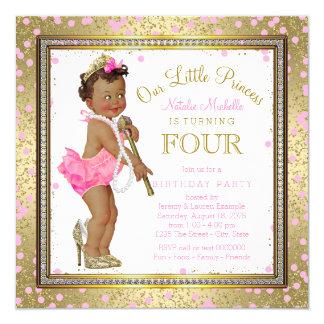 4. Geburtstag Party ethnischer Prinzessin- Quadratische 13,3 Cm Einladungskarte