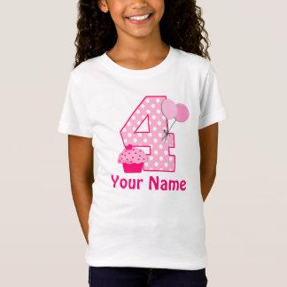 4. Geburtstags-Mädchen-Kuchen-personalisierter T - T-Shirt