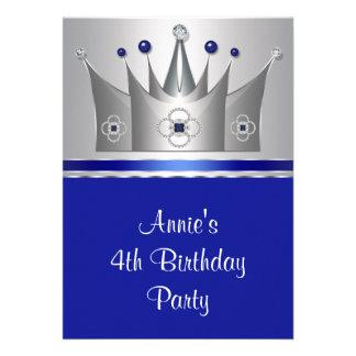 4 Geburtstags-Party Einladung 4 Prinzessin-Crown
