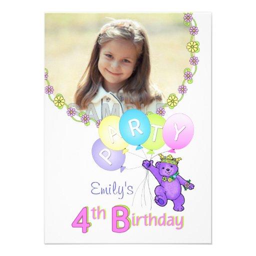 4. Geburtstags-Party-Prinzessin Bear Custom Foto Individuelle Einladung