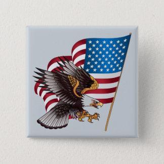 4. Juli amerikanische Flagge und Eagle Quadratischer Button 5,1 Cm