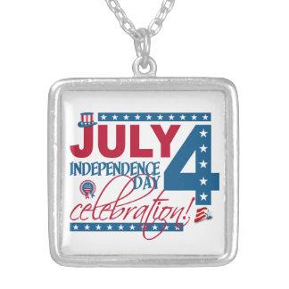 4. Juli Feierhalskette Halskette Mit Quadratischem Anhänger